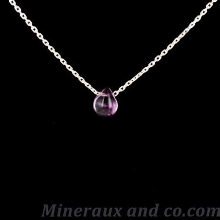 Pendentif fluorite violette et argent 925