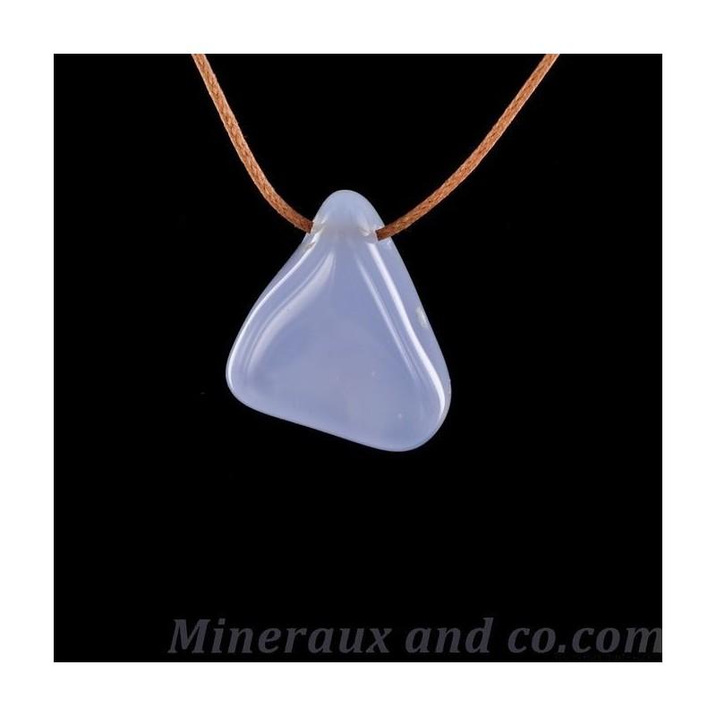 Pendentif pierre calcédoine bleue