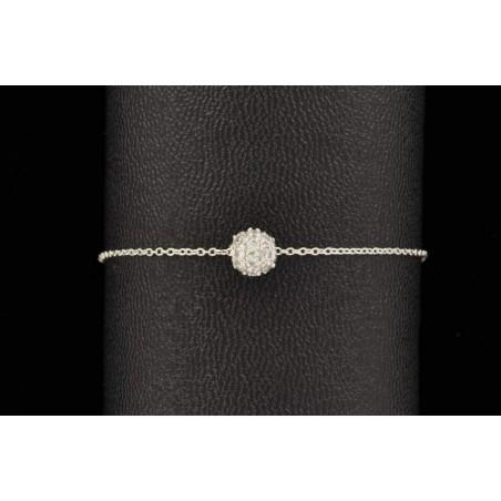 Bracelet chaîne et perle d'argent 925 incrustée de zirconium.
