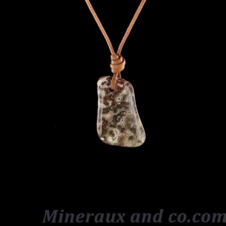 Pendentif pierre jaspe léopard tacheté