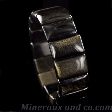 Bracelet obsidienne doré