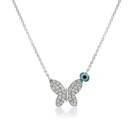 Pendentif papillon et argent 925 et zirconium