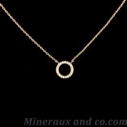 Collier cercle plaqué or et zircons
