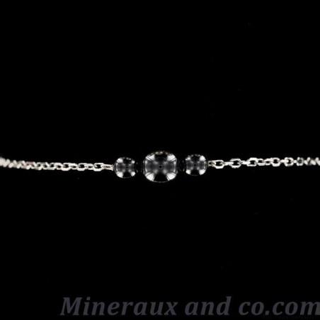 Bracelet hématite trois perles et chaîne argent
