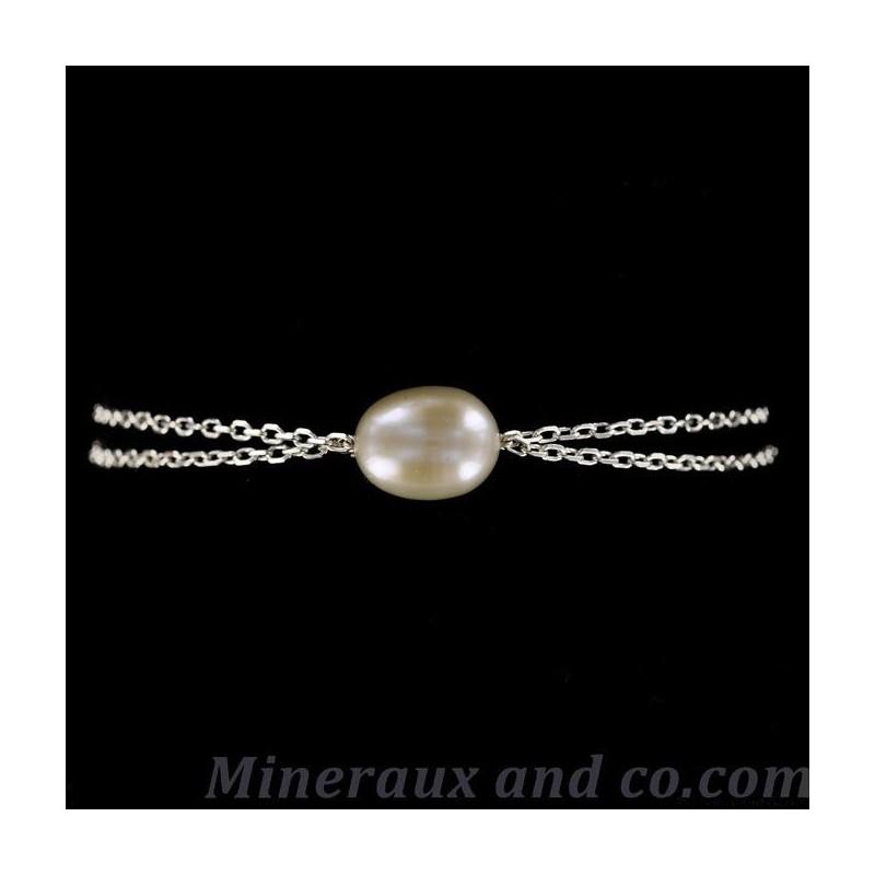 Bracelet double chaîne et perle d'eau.
