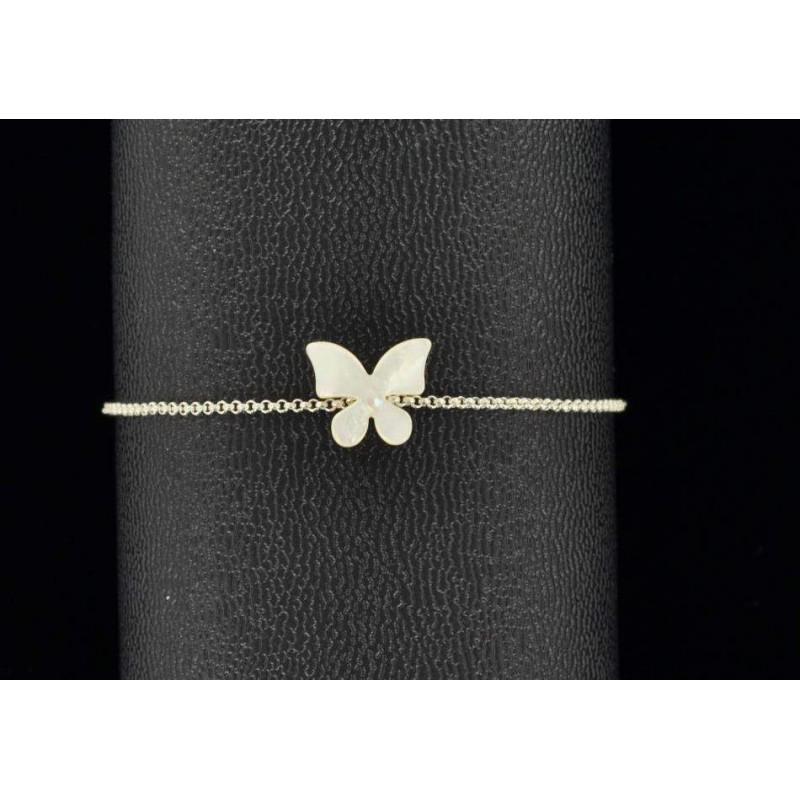Bracelet papillon nacre et argent
