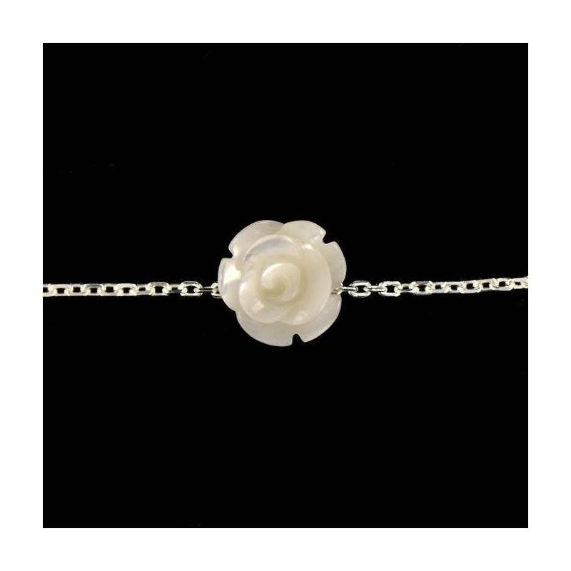 Bracelet chaîne argent et rose de nacre