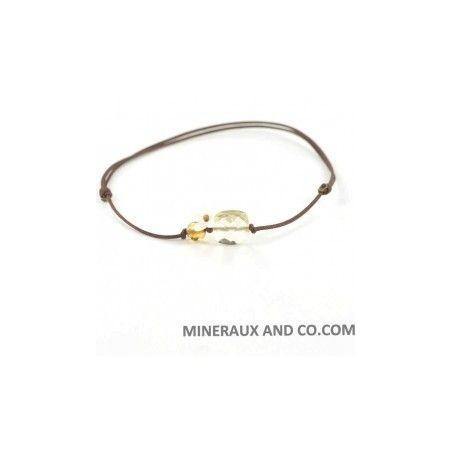 Bracelet quartz jaune facetté, fleur de nacre et quartz fumé