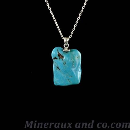Pendentif turquoise en pierre roulée avec attache en argent 925.