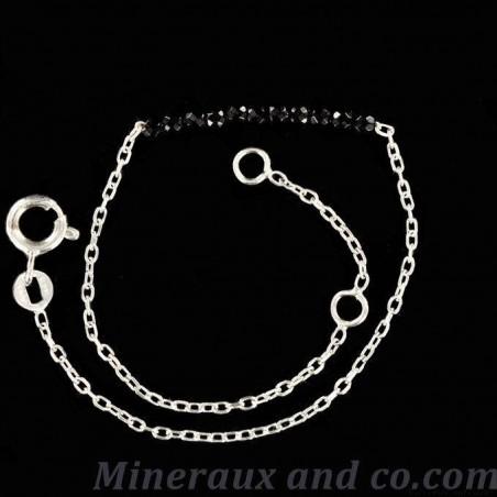 Bracelet spinelle facetté et chaîne 925