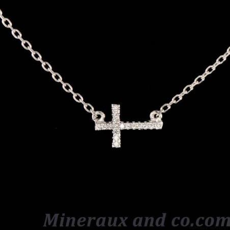 Pendentif croix chaine argent 925 et zirconium.