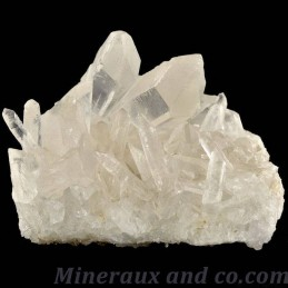 Amas de quartz transparent brut