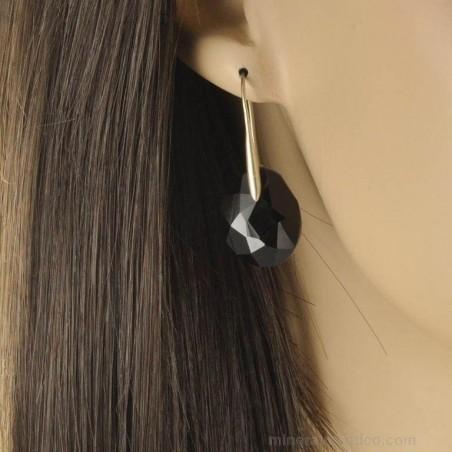 Boucles d'oreilles facettées en onyx noir et argent 925.