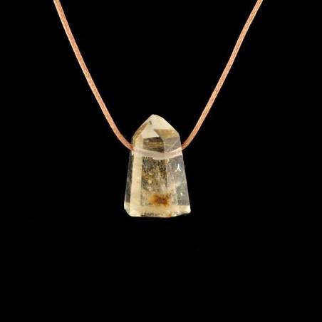 Pendentif quartz pointe avec inclusions de paillettes de rutiles.