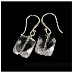Boucles d'oreilles argent 925 et pierre coussin en cristal de roche.