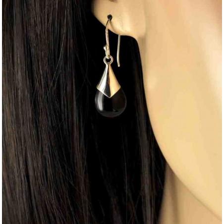 Boucles d'oreilles gouttes d'onyx