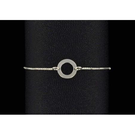 Bracelet chaine argent 925 et cercle plat.