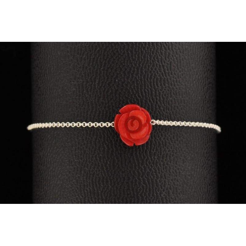 Bracelet chaine argent 925 fleur de bambou de mer coloré