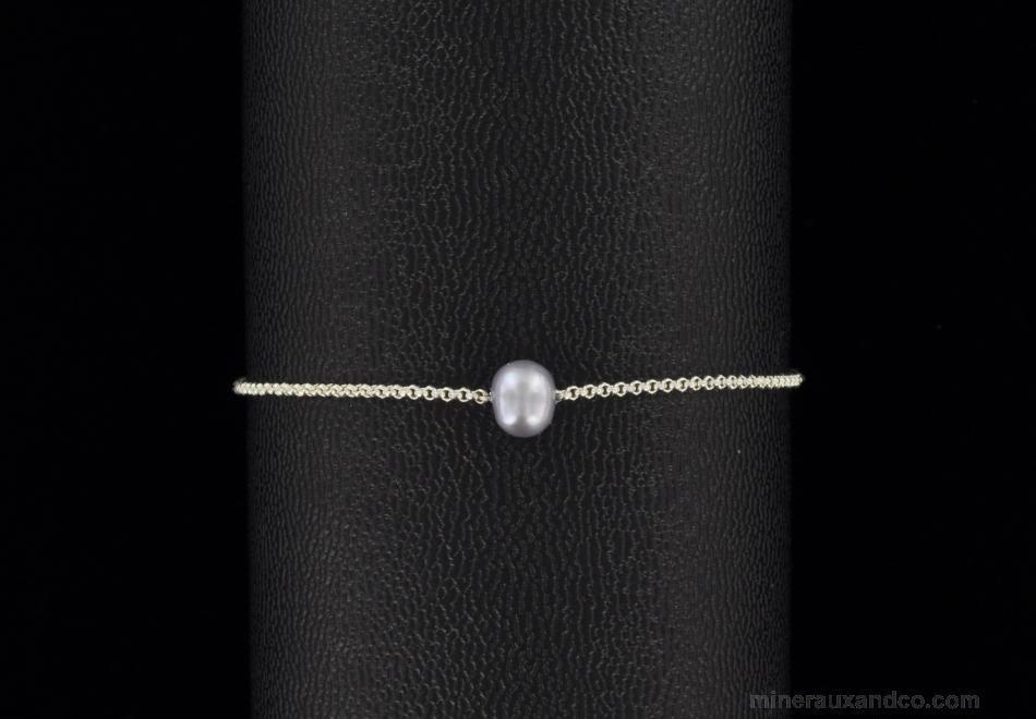 Bijou Perle Deau Douce : Bracelet argent et perle de culture d eau douce grise