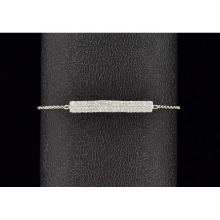 Bracelet barrette argent 925 et zirconium.